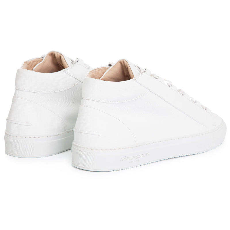 Rico Mid Sneaker White Saffiano Leather / White Outsole Backview