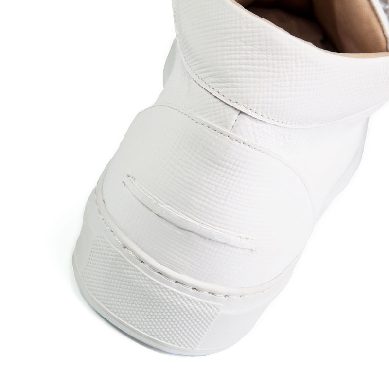 Rico Mid Sneaker White Saffiano Leather White Outsole Backview