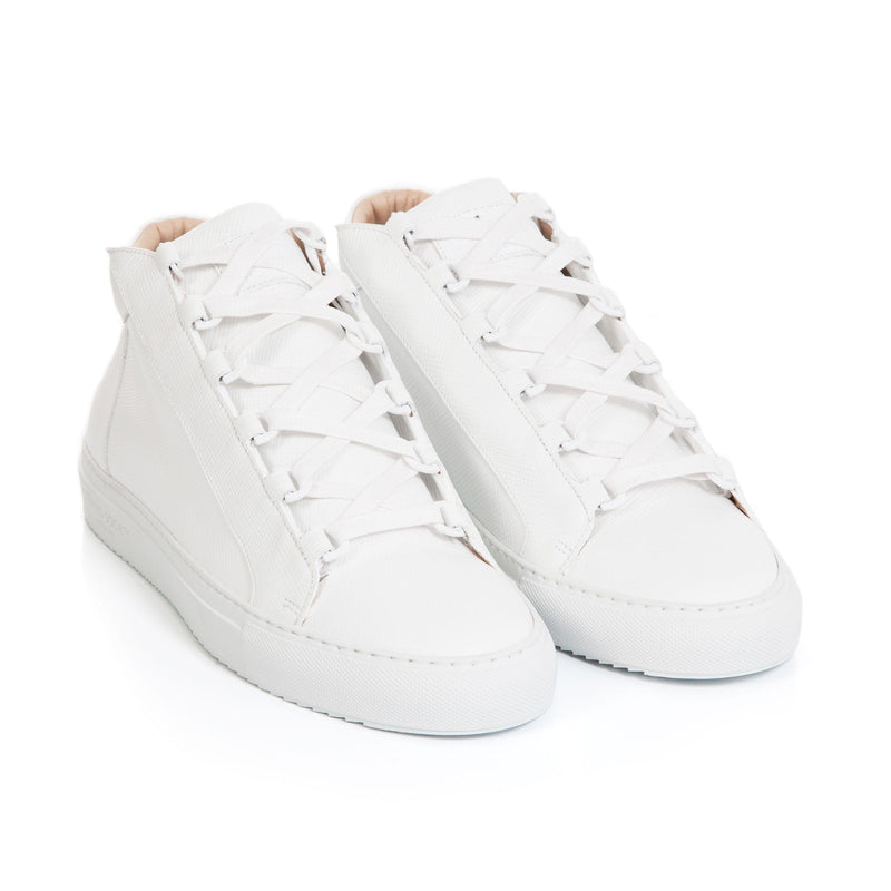 Rico Mid Sneaker White Saffiano Leather White Outsole Frontview