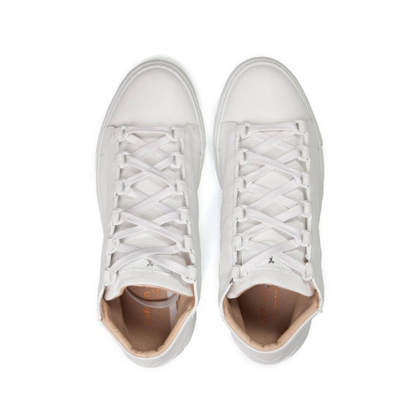 Rico Mid Sneaker White Saffiano Leather White Outsole Aboveview