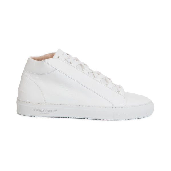 Rico Mid Sneaker White Saffiano Leather White Outsole Sideview