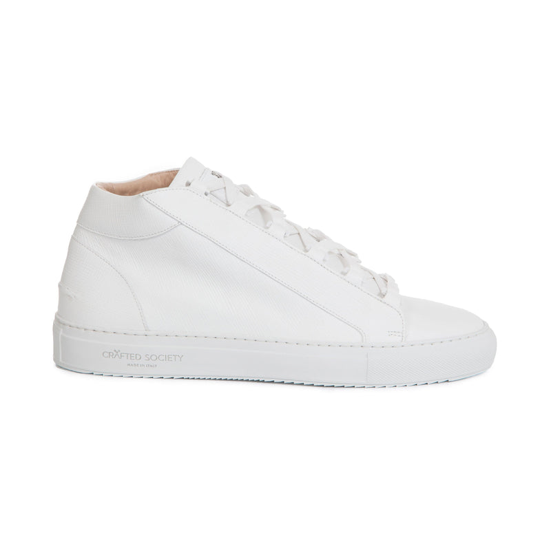 Rico Mid Sneaker - White Saffiano Leather / White Outsole