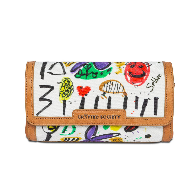 Clutch/Cross Body - Selden Art Canvas & Vachetta Leather