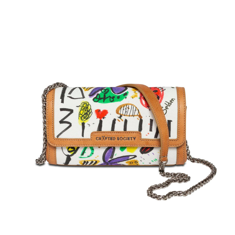 Clutch/Cross Body Selden Art Canvas & Vachetta Leather Sideview