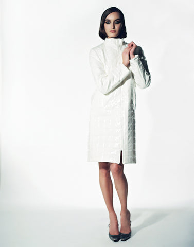 Stefania Vaidani Domino white long coat