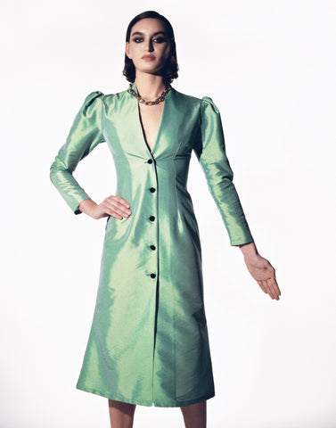 Stefania Vaidani Uranus green taffeta dress