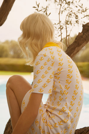 SV Logo Knit Yellow Polo Mini Dress