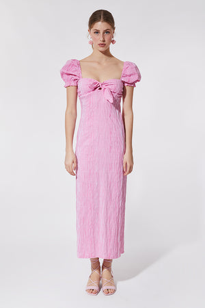 FUSCIA VICHY MIDI DRESS