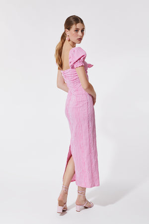 Stefania Vaidani vichy pink midi dress back