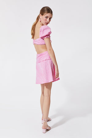 Stefania Vaidani pink vichy crop top side