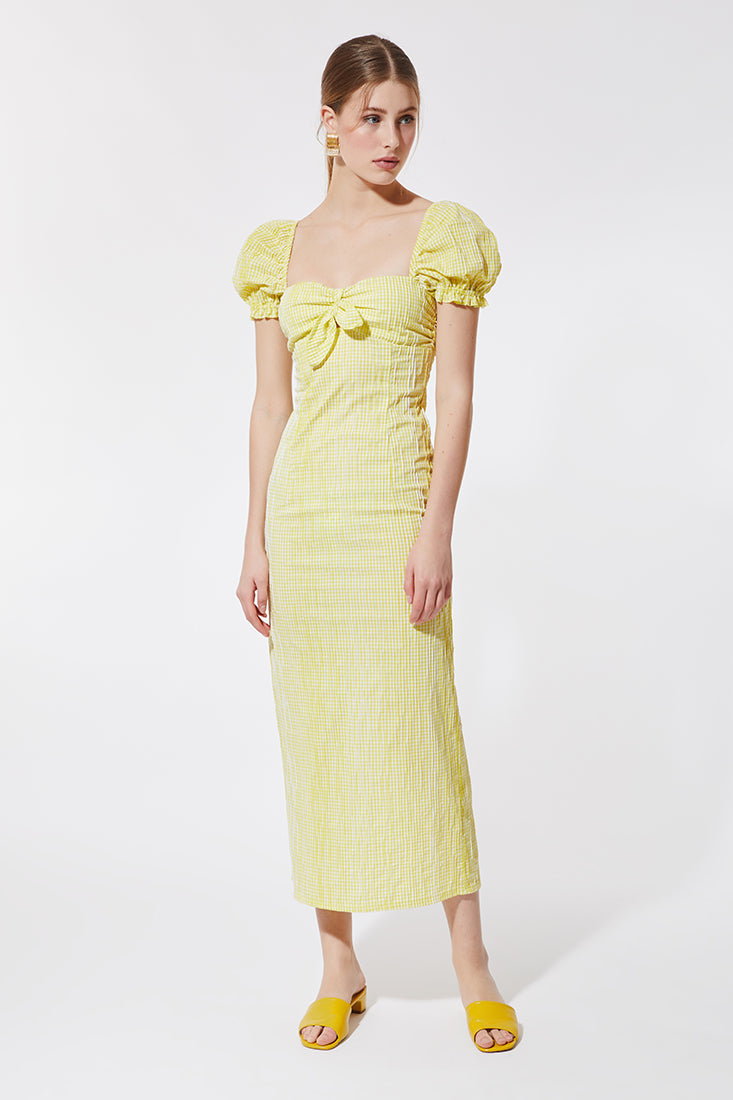 YELLOW VICHY MIDI DRESS