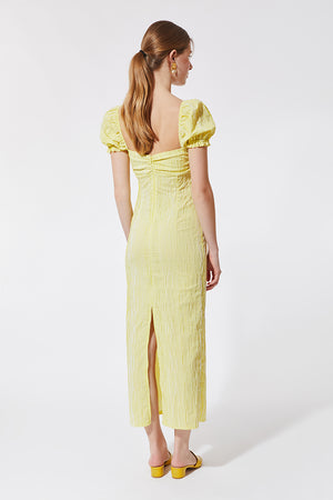 Stefania Vaidani yellow vichy midi dress back