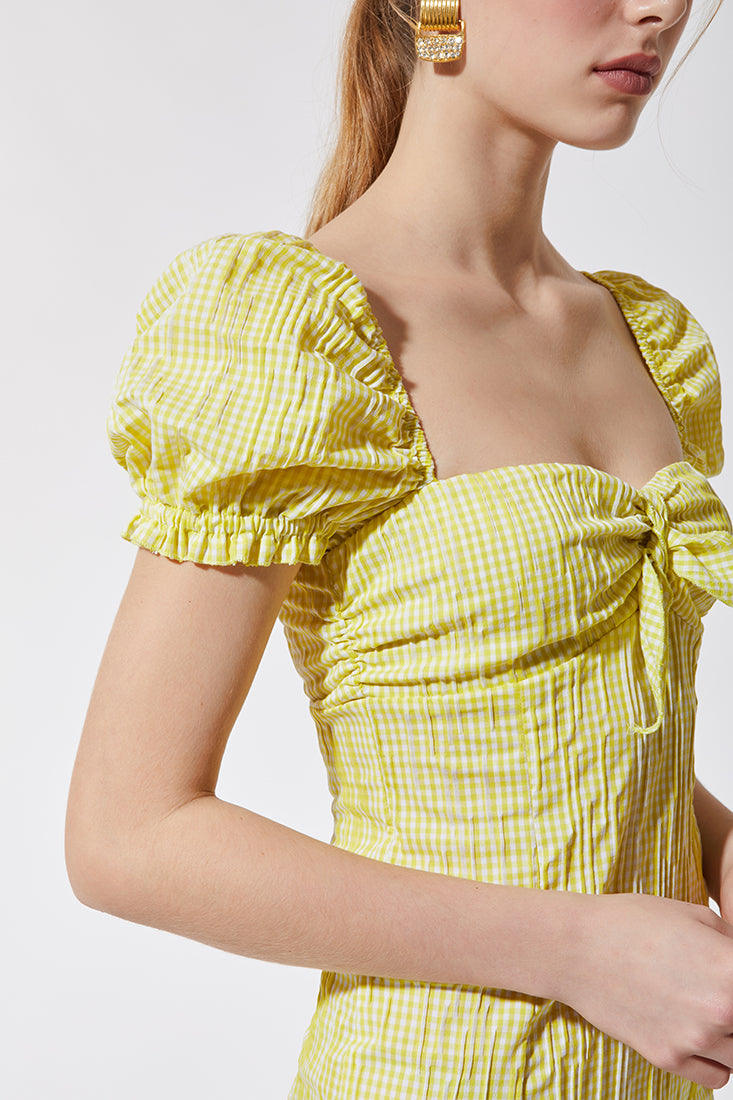 Stefania Vaidani yellow vichy midi dress detail