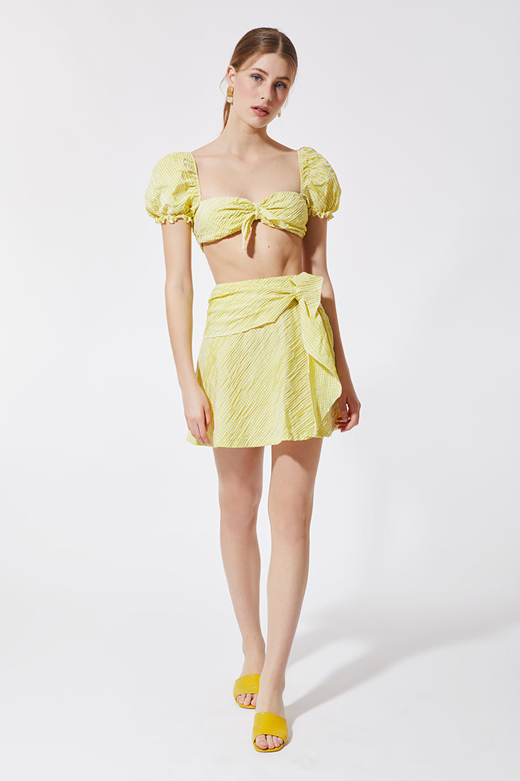 Stefania Vaidani yellow vichy mini wrap skirt