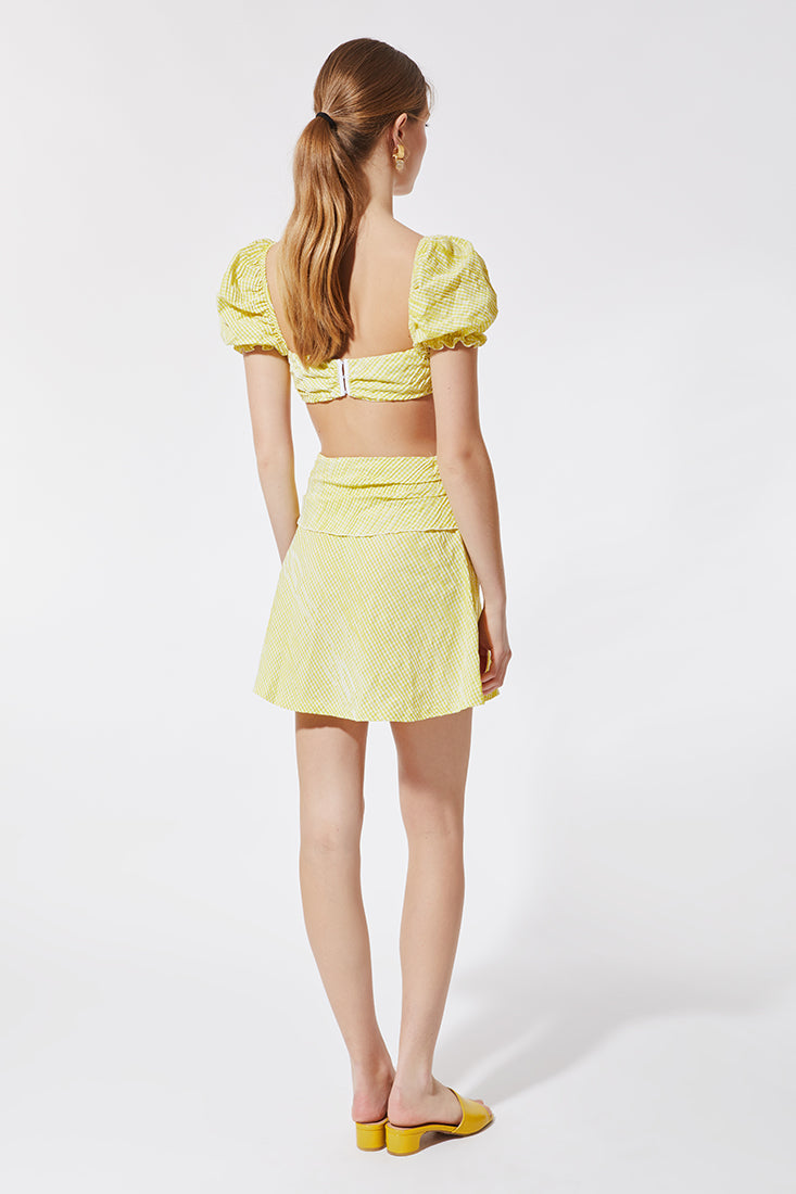 Stefania Vaidani yellow vichy mini wrap skirt back