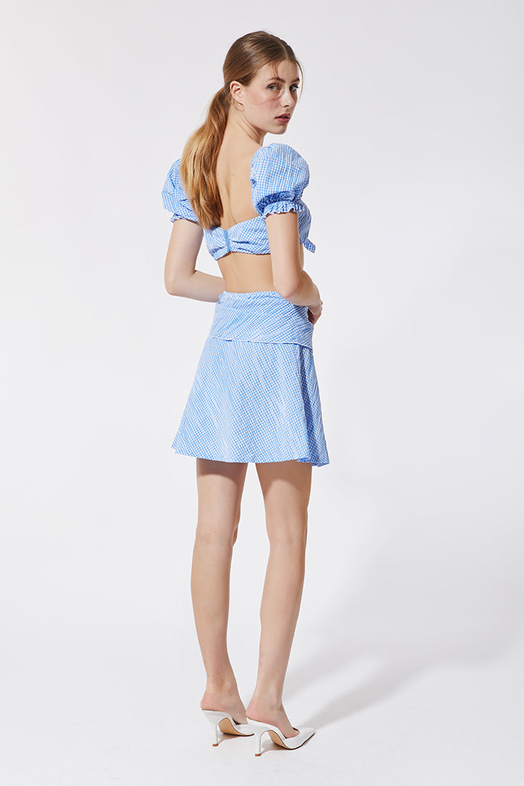BABY BLUE VICHY MINI SKIRT