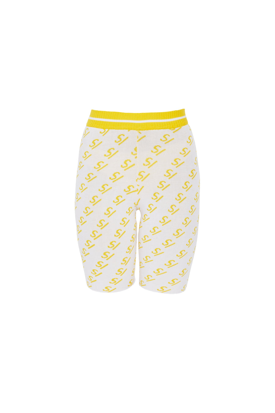 SV Logo Knit Yellow Biker Shorts