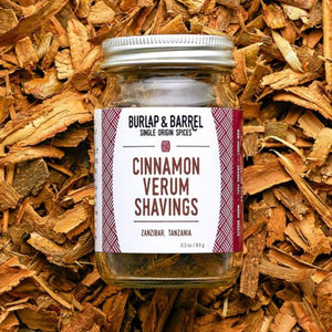 Cinnamon Verum Shavings 0.3 oz Jar, Burlap & Barrel