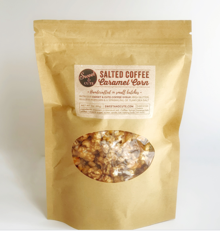 Salted Carmel Coffee Syrup Popcorn, Sweet & Cute