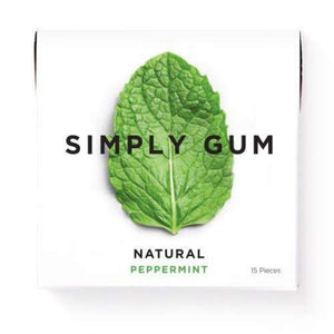 Peppermint Natural Chewing Gum 15 Pieces, Simply Gum