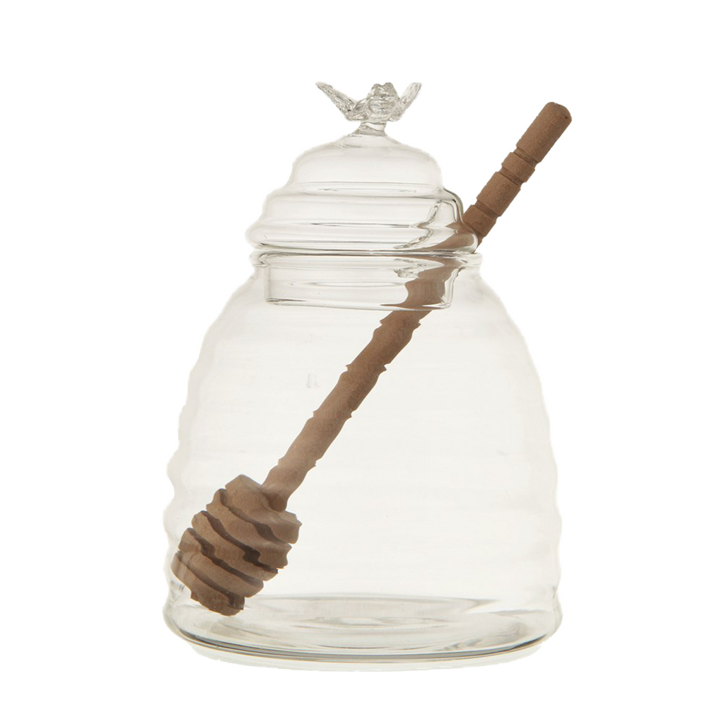 Glass Honey Pot with Wooden Dipper