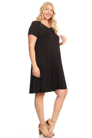 Plus size black A-Line Dress in Relaxed Fit