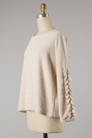 Ruffle sleeve knit top in oatmeal S-L
