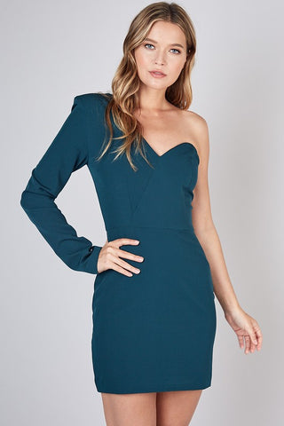 Teal one shoulder cocktail dress S-L