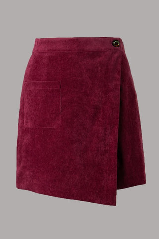 Wine color corduroy mini skirt S-L
