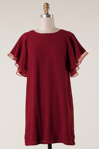 Flutter sleeve crimson dress with back zipper in S-L