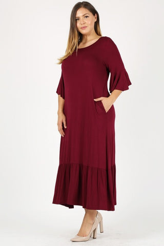Plus size maxi dress In burgundy