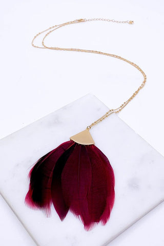 Burgundy feather necklace 32""