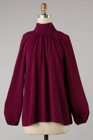 Burgundy high neck woven top with bow detail S-L