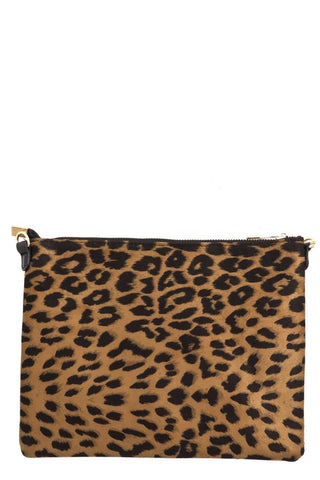 Leopard handbag with faux leather strap