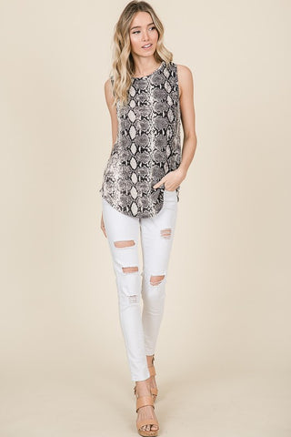 Snake print sleeveless top in S-XL