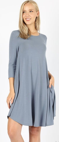 Grey 3/4 sleeve dress in sizes S-XL