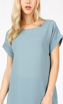 Blue Grey top with rolled sleeves in S-XL