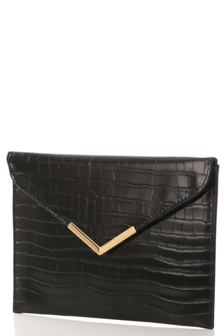 Faux Leather Handbag with gold accents