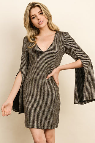 Metallic dress with split detail at sleeves S-L