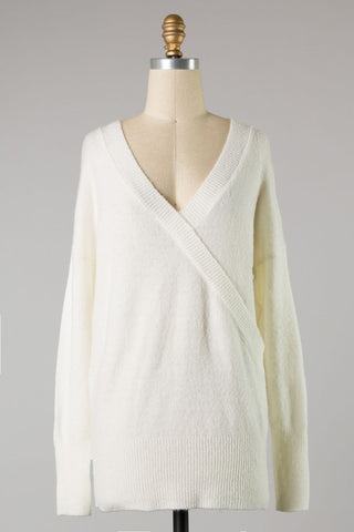 V neck tunic sweater in ivory S-L