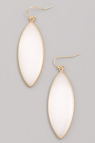 Semi precious stone drop earrings in taupe