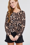Long sleeve leopard print top in S-L