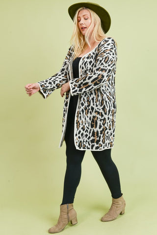 Plus size leopard print cardigan sweater