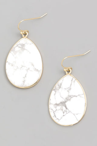 Semi-precious Howlite stone drop earrings with white marble look