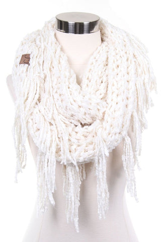 Cream infinity scarf with fringe