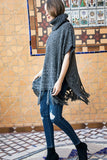 Warm & Cozy turtleneck poncho with fringe accent in charcoal