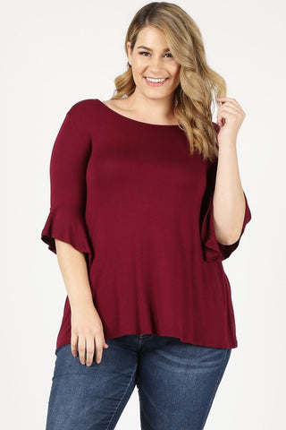 Plus size top in crimson with 3/4 flare sleeves
