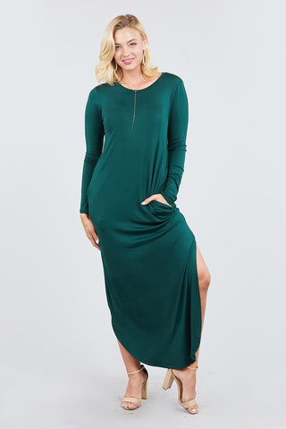 Lightweight & Cozy Long Sleeve Maxi Dress in Jade S-XL