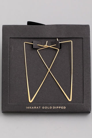 Triangle 14 Carat Gold Dipped Earrings