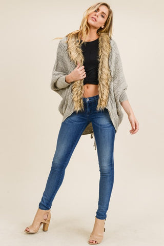 Taupe kimono cardigan with fur detail in S-L
